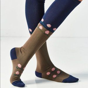 Out From Under Flower Colorblock Knee Socks